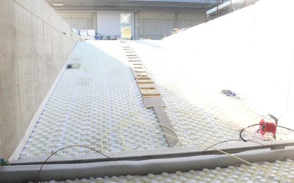 impianto snevamento radiante scivolo capannone